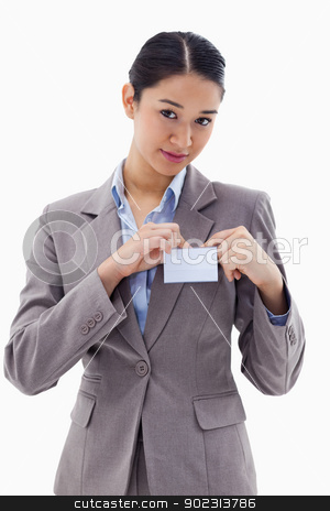 Portrait of a young businesswoman clipping her badge stock photo, Portrait of a young businesswoman clipping her badge against a white background by Wavebreak Media