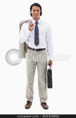 Portrait of an office worker holding his jacket over his shoulde stock photo, Portrait of an office worker holding his jacket over his shoulder and a briefcase against a white background by Wavebreak Media
