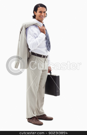 Portrait of a happy office worker holding his jacket over his sh stock photo, Portrait of a happy office worker holding his jacket over his shoulder and a briefcase against a white background by Wavebreak Media