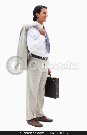 Portrait of a smiling office worker holding his jacket over his  stock photo, Portrait of a smiling office worker holding his jacket over his shoulder and a briefcase against a white background by Wavebreak Media