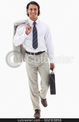 Portrait of a businessman going to work stock photo, Portrait of a businessman going to work against a white background by Wavebreak Media
