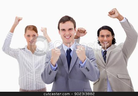 Celebrating businessteam stock photo, Celebrating businessteam against a white background by Wavebreak Media