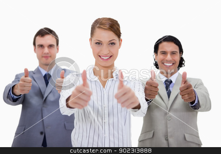 Businessteam approving stock photo, Businessteam approving against a white background by Wavebreak Media