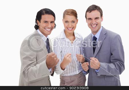 Successful businessteam standing stock photo, Successful businessteam standing against a white background by Wavebreak Media
