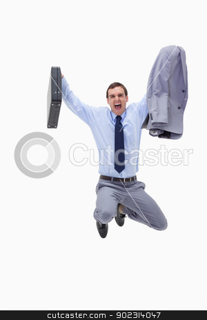 Businessman with suitcase in mid air stock photo, Businessman with suitcase in mid air against a white background by Wavebreak Media