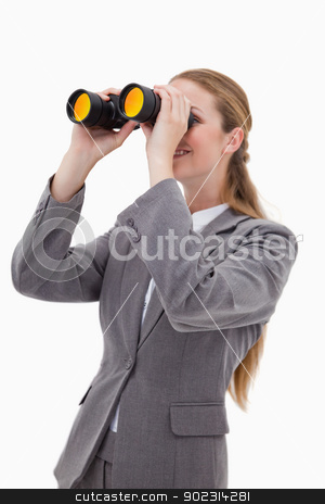Side view of bank employee with spyglasses stock photo, Side view of bank employee with spyglasses against a white background by Wavebreak Media