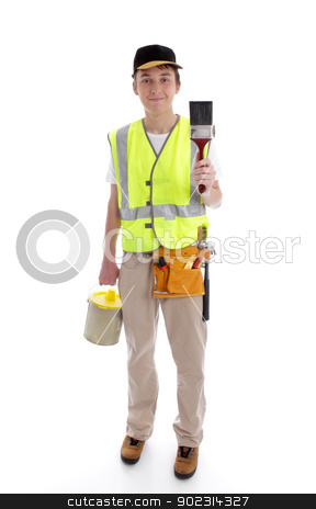 Handyman or painter ready for work stock photo, Handyman or painter ready for work.  White background. by Leah-Anne Thompson