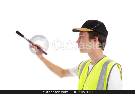 Painter decorator with paint brush stock photo, A painter, decorator, handyman or builder using a paint brush.  White background. by Leah-Anne Thompson