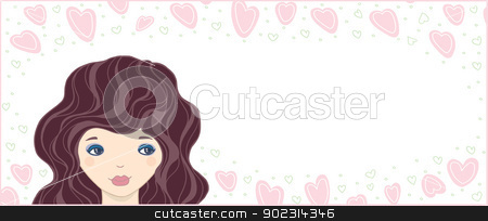 cute summer card stock photo, cute summer card-Valentine. young girl surrounded by hearts by Natalia Konstantinova