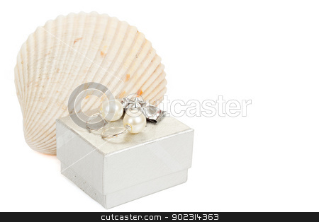 two pearl earrings, shells and gift box isolated on white stock photo, two pearl earrings, shells and gift box isolated on white background by Artush
