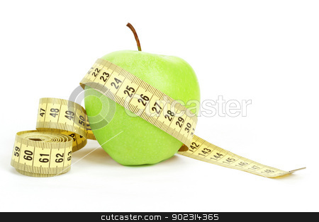Green apple and measuring tape isolated on white background stock photo, Green apple and yellow measuring tape isolated on white background by Artush