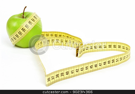 Tape measure heart shape and green apple  - health, weight concept  stock photo, Tape measure heart shape and green apple  - health, weight concept  by Artush