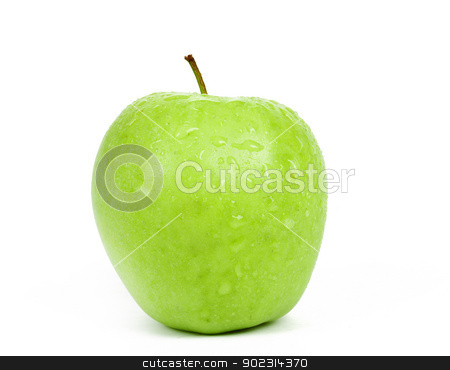 Single Green Apple isolated on a white background  stock photo, fresh Single Green Apple isolated on a white background  by Artush