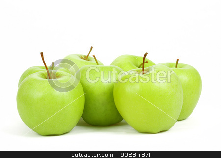 seven green apples isolated on a white background  stock photo, fresh seven green apples isolated on a white background  by Artush