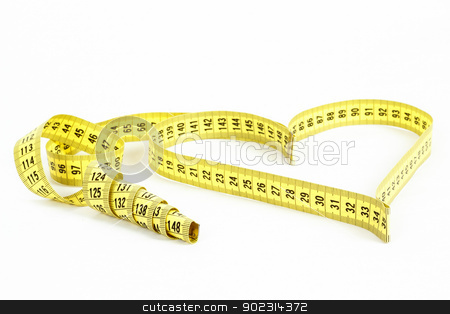 Tape measure heart shape - health, weight concept  stock photo, A measuring tape shaping a heart isolated on white background by Artush