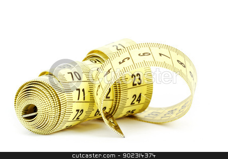 Yellow measuring tape isolated on white stock photo, Yellow measuring tape isolated on white background  by Artush