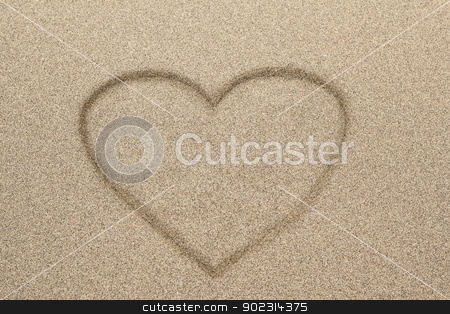 Heart shape symbol drawn in sand stock photo, Heart shape drawn in sand for natural, symbol,tourism,holiday or conceptual designs  by Artush