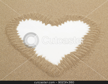 Heart shape drawn in sand with white space for text stock photo, Heart shape drawn in sand with white space for text, conceptual designs  by Artush