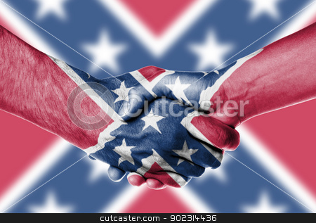 Man and woman shaking hands stock photo, Man and woman shaking hands, isolated on white, Confederate Flag by michaklootwijk