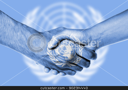 Man and woman shaking hands stock photo, Man and woman shaking hands, isolated on white, United Nations by michaklootwijk