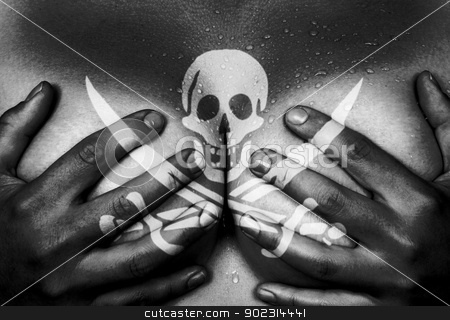 Hands covering breasts stock photo, Sweaty upper part of female body, hands covering breasts, pirate by michaklootwijk