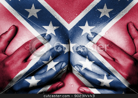 Hands covering breasts stock photo, Sweaty upper part of female body, hands covering breasts, confederate flag by michaklootwijk