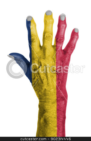 Hand of an old woman wrapped in flag stock photo, Hand of an old woman wrapped in flag of Chad by michaklootwijk