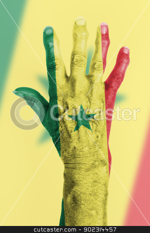 Hand of an old woman wrapped in flag stock photo, Hand of an old woman wrapped in flag of Senegal by michaklootwijk