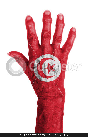 Hand of an old woman wrapped in flag stock photo, Hand of an old woman wrapped in flag of Tunisia by michaklootwijk
