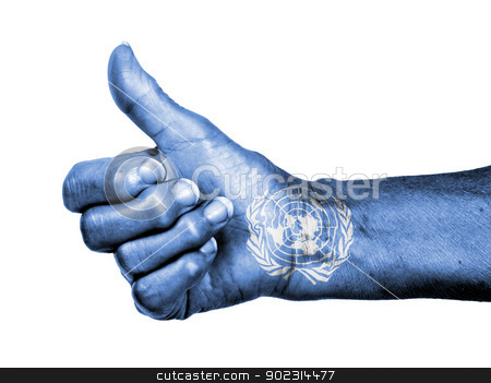 Old woman with arthritis giving the thumbs up sign stock photo, Old woman with arthritis giving the thumbs up sign, isolated on white, United Nations by michaklootwijk