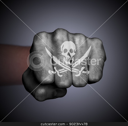 Front view of a punching hand stock photo, Front view of a punching hand, pirate by michaklootwijk