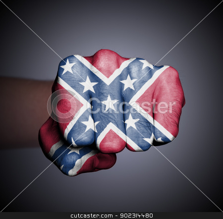 Front view of a punching hand stock photo, Front view of a punching hand, Confederate flag by michaklootwijk