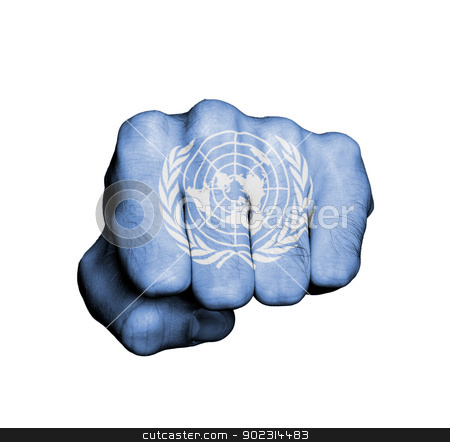 Front view of a punching hand stock photo, Front view of a punching hand, United Nations by michaklootwijk