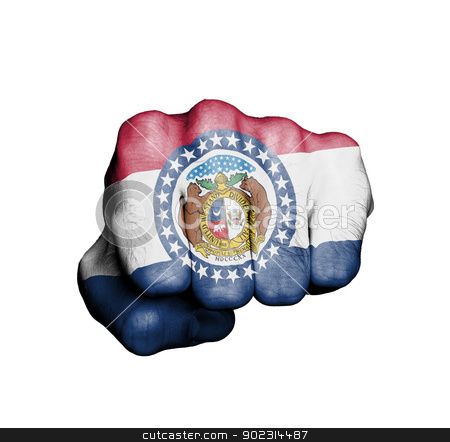 United states, fist with the flag of a state stock photo, United states, fist with the flag of a state, Missouri by michaklootwijk