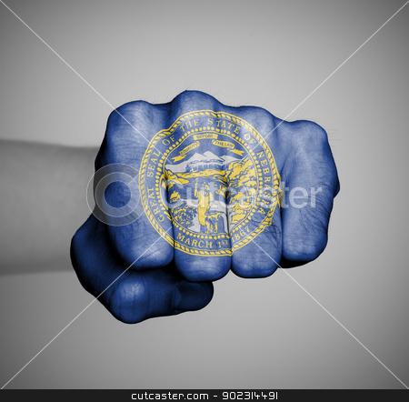United states, fist with the flag of Nebraska stock photo, United states, fist with the flag of a state, Nebraska by michaklootwijk