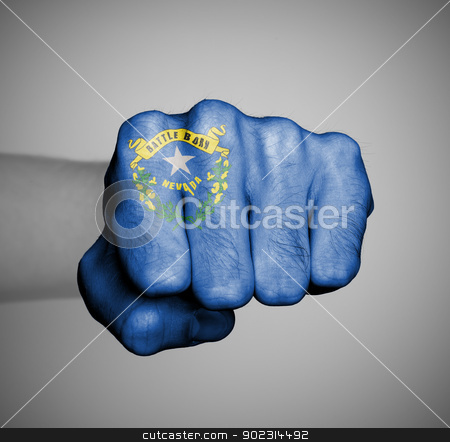 United states, fist with the flag of Nevada stock photo, United states, fist with the flag of a state, Nevada by michaklootwijk