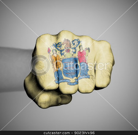 United states, fist with the flag of new jersey stock photo, United states, fist with the flag of a state, new jersey by michaklootwijk