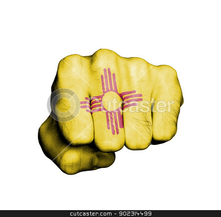 United states, fist with the flag of New Mexico stock photo, United states, fist with the flag of a state, New Mexico by michaklootwijk