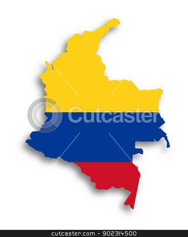 Map of Colombia filled with flag stock photo, Map of Colombia filled with flag, isolated by michaklootwijk