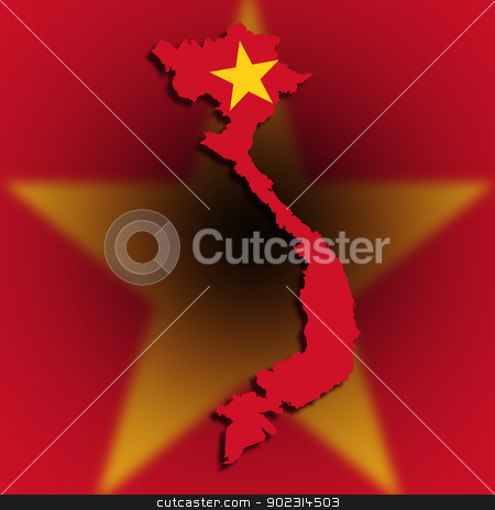 Map of Vietnam filled with flag stock photo, Map of Vietnam filled with flag, isolated by michaklootwijk