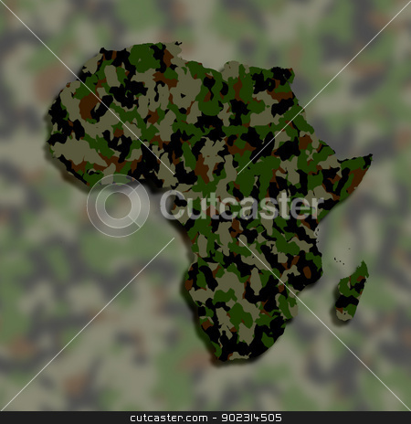 Map of Africa filled with camouflage pattern stock photo, Map of Africa filled with camouflage pattern, isolated by michaklootwijk