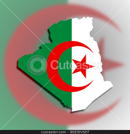 Map of Algeria filled with flag stock photo, Map of Algeria filled with flag, isolated by michaklootwijk