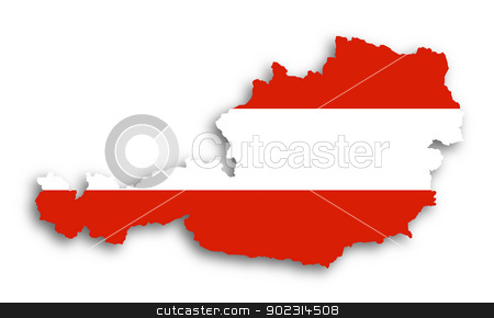Map of Austria filled with flag stock photo, Map of Austria filled with flag, isolated by michaklootwijk