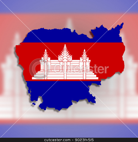 Map of Cambodia filled with flag stock photo, Map of Cambodia filled with flag, isolated by michaklootwijk