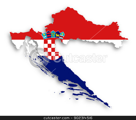 Map of Croatia filled with flag stock photo, Map of Croatia filled with flag, isolated by michaklootwijk