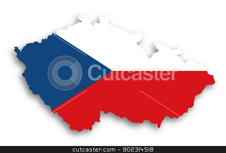Map of The Czech Republic filled with flag stock photo, Map of The Czech Republic filled with flag, isolated by michaklootwijk