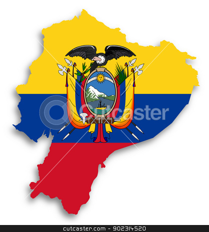 Map of Ecuador filled with flag stock photo, Map of Ecuador filled with flag, isolated by michaklootwijk