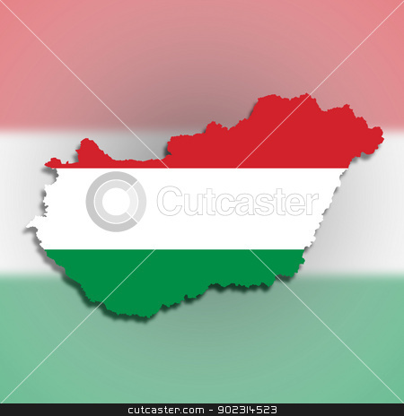 Map of Hungary filled with flag stock photo, Map of Hungary filled with flag, isolated by michaklootwijk