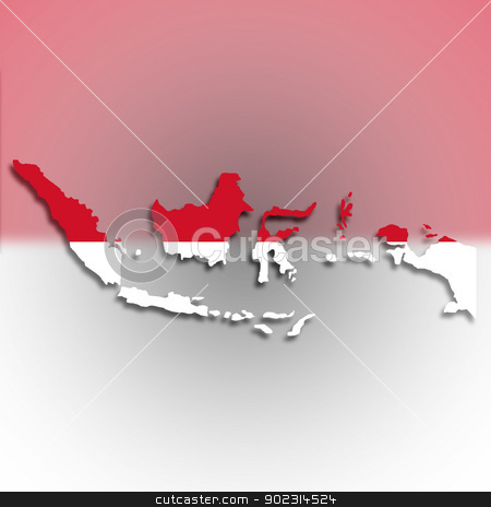 Map of Indonesia filled with flag stock photo, Map of Indonesia filled with flag, isolated by michaklootwijk