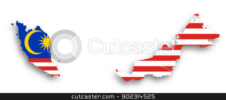 Map of Malaysia filled with flag stock photo, Map of Malaysia filled with flag, isolated by michaklootwijk